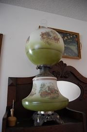 """Hand painted """"Gone with the Wind"""" style glass oil lamp, butter pat"""