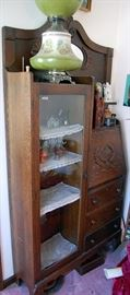 Antique oak drop front secretary / china cabinet combo