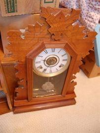 Antique oak gingerbread kitchen clock