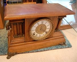 Antique oak mantle clock