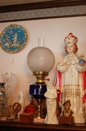 Unusual French enamel oil lamp, Religious icons from Church