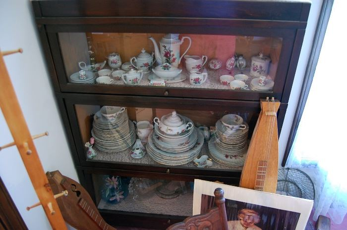 Lawyer's triple stack barrister bookcase, antique china, dulcimers