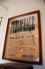 Antique 1902 auction sale bill, framed