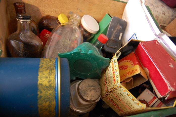 Vintage cans, tins, bottles