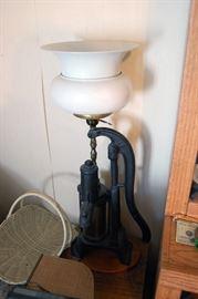 Antique well pump lamp, cast iron