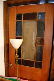 Antique stained glass entry door