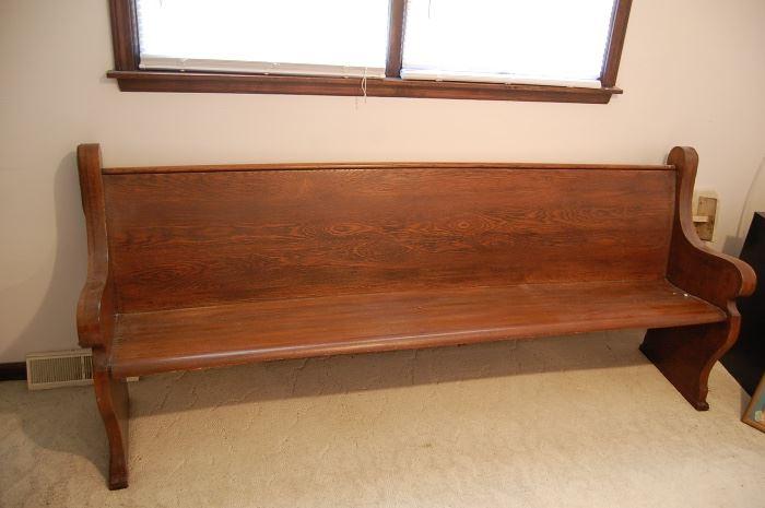 Antique oak church pew, nice size
