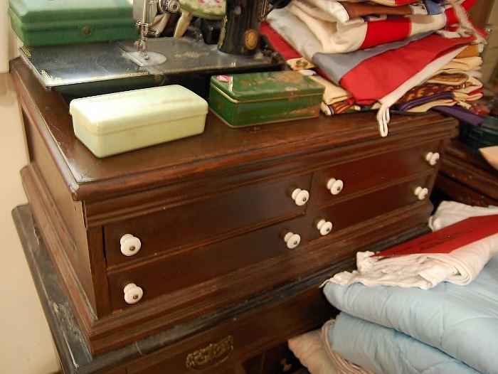 Antique walnut 4-drawer spool cabinet
