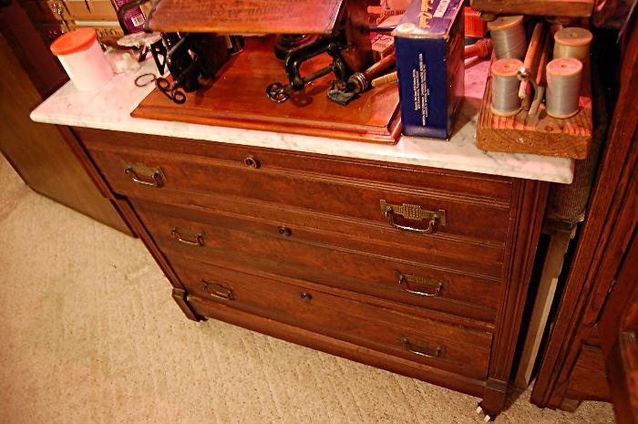 Antique Walnut Victorian Eastlake marble top dresser