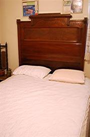 Antique Victorian Eastlake Walnut high back bed