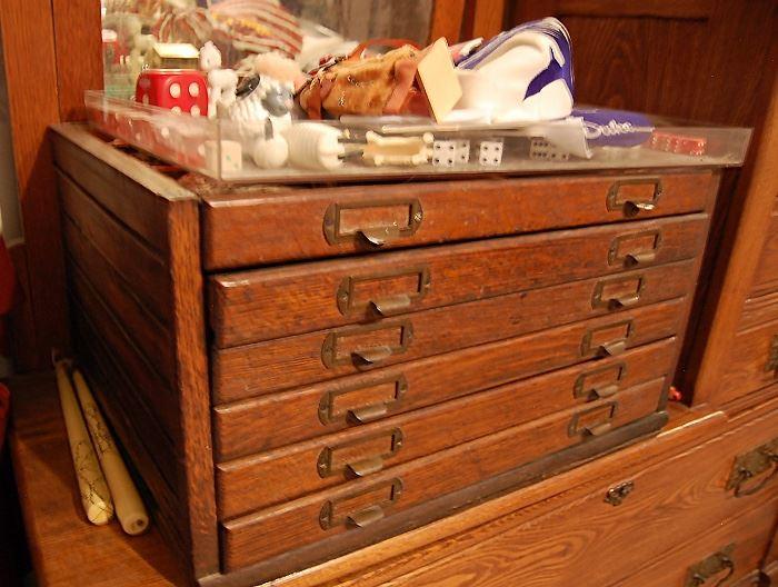 Antique oak watch maker's cabinet, unusual