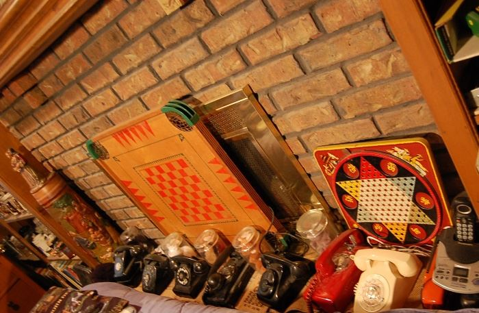 Antique telephone collection, game boards