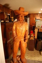 6FT tall carved cowboy statue