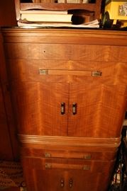 Antique Art Deco waterfall cabinet, unusual