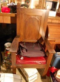 Antique Mason's lodge chair, unusual