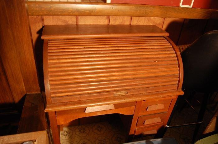 Antique child's oak roll top desk