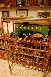 Neat copper industrial wine rack