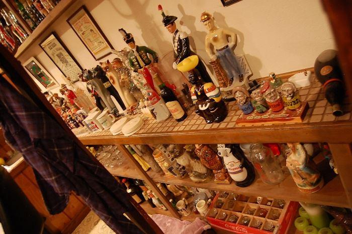 Many vintage decanters, liquour bottles