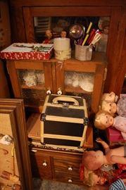 Antique child's kitchen cabinet