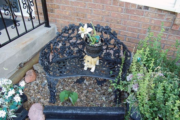 Ornate cast iron bench, Victorian