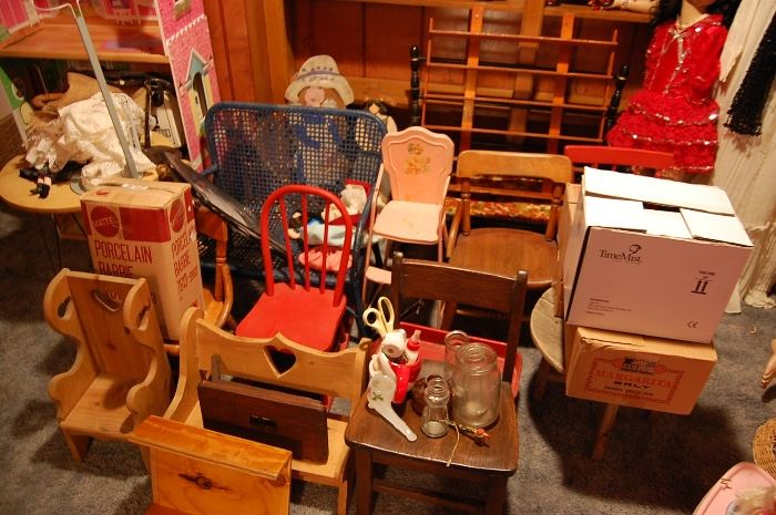 Antique child's chairs or doll