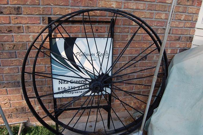 Pair cast iron wagon wheels