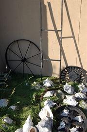 Cast iron wheels, tractor seat