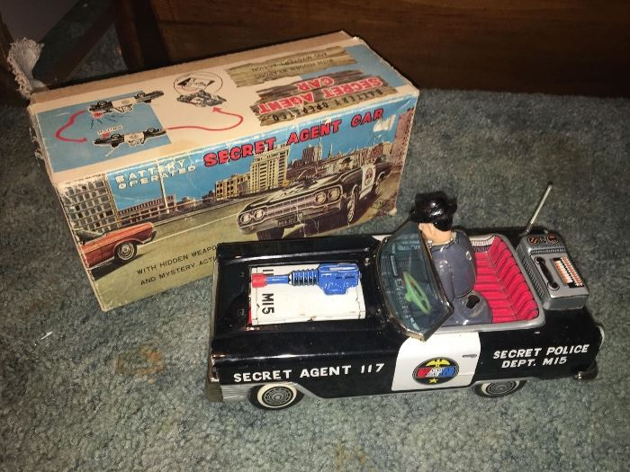 Vintage Tin Litho Friction Secret Agent Japanese Toy in Original Box