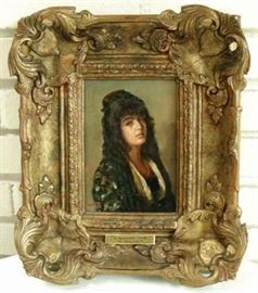 "#25 - W. Oliver Original Oil on Board ""Spanish Maid"", Signed"