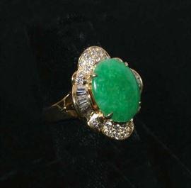 #43 - Ladies 14K Y.G. Fine Jadeite and Diamond Ring