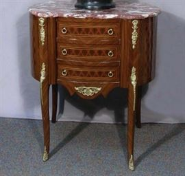 #28 - French Three Drawer Table with Marble Top