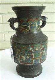 #70 - Antique Bronze and Cloisonne Vase