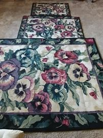 3Piece Pansy Throw Rugs