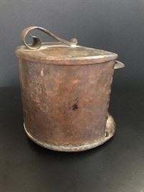 Hammered copper pipe tobacco humidor and pipe holder