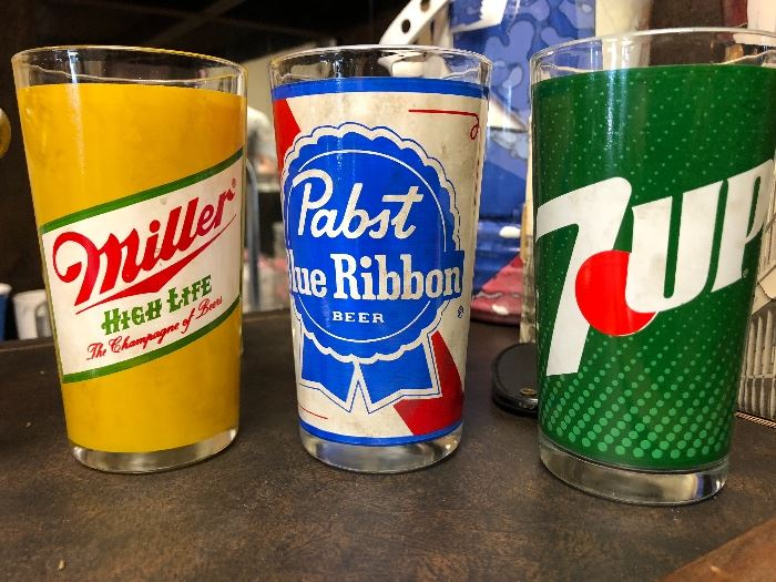 Vintage glass tumblers, Miller High Life, Pabst Blue Ribbon, and 7 Up