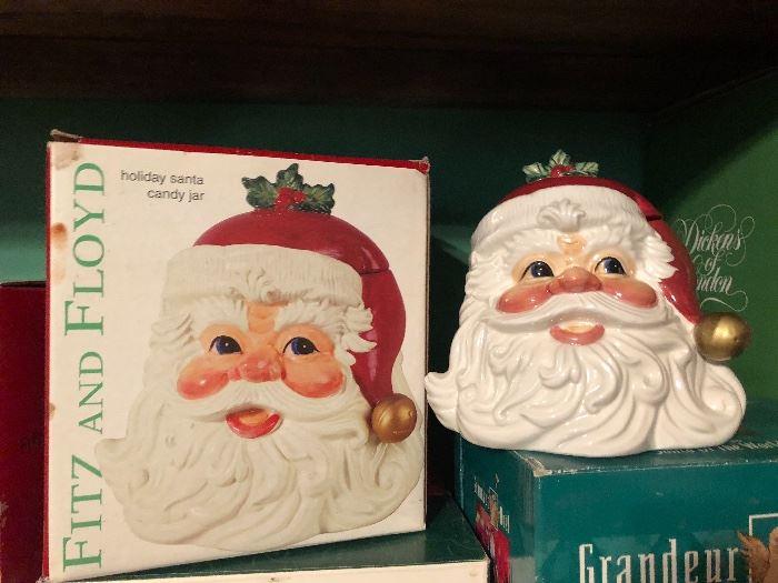 Fitz and Floyd Christmas Santa candy jar