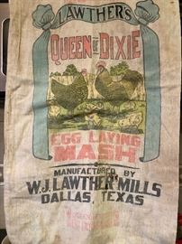 Old Lawther's  Queen is Dixie Egg Laying Mash sack from W J Lawther's Mill of Dallas, TX