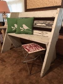 Contemporary style barn wood bench and small camping style stool with fabric from Hable Construction