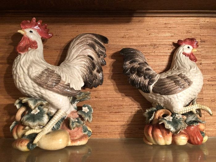 Fitz and Floyd Rooster and He  Wall Mount Plaques