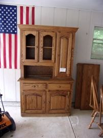 Oak Hutch with display and storage