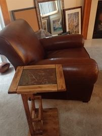 Pottery Barn leather chair - sofa table - art work
