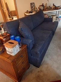 DENIM SOFA WITH PILLOWS  TABLE - DRAWERED END
