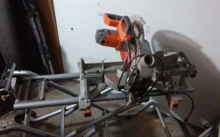RIDGID Miter Saw Stand Mounting Braces Upright Folding Design Portable Wheels WITH SAW