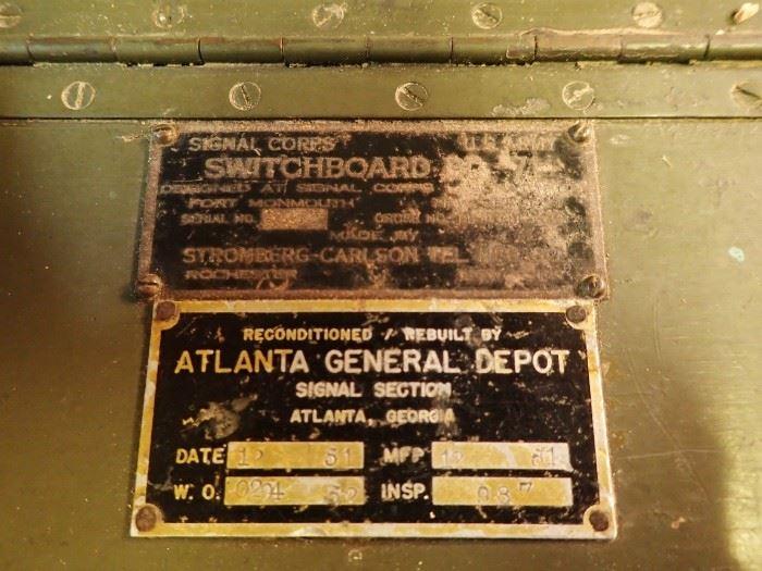 SWITCHBOARD  / ATLANTA GENERAL DEPOT 1951