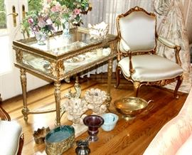 French provincial chair and see through cabinet