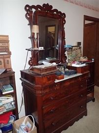 CARVED DRESSER WITH HANKIE DRAWERS AND MIRROR