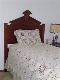CARVED TWIN BED / FRAME / MATTRESS