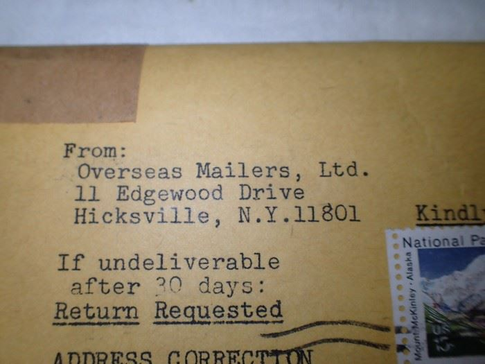 OVERSEAS MAILER / COLLECTOR STAMPS