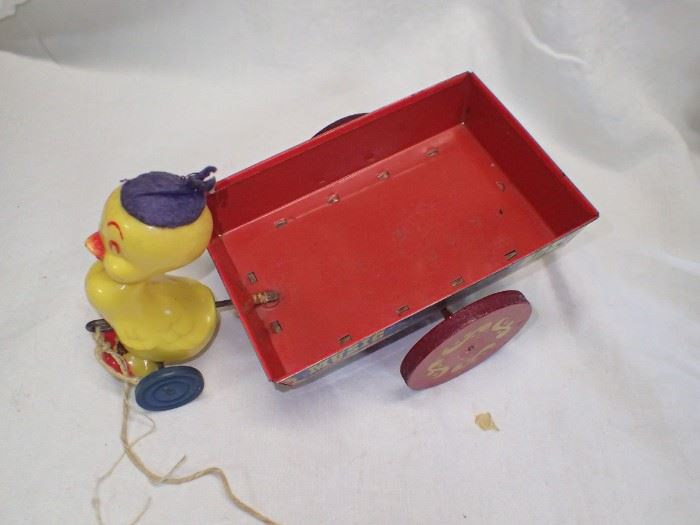 YELLOW DUCK W/ DELIVERY WAGON RED METAL Vintage Easter Mattel Tin Wagon . Duck . Delivery Wagon . Music Box . Plastic Duck . Pull Toy