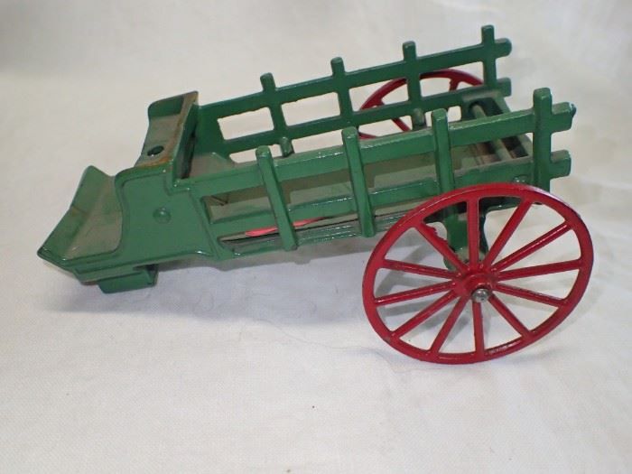 CAST IRON HORSES AND CART W/ DRIVER
